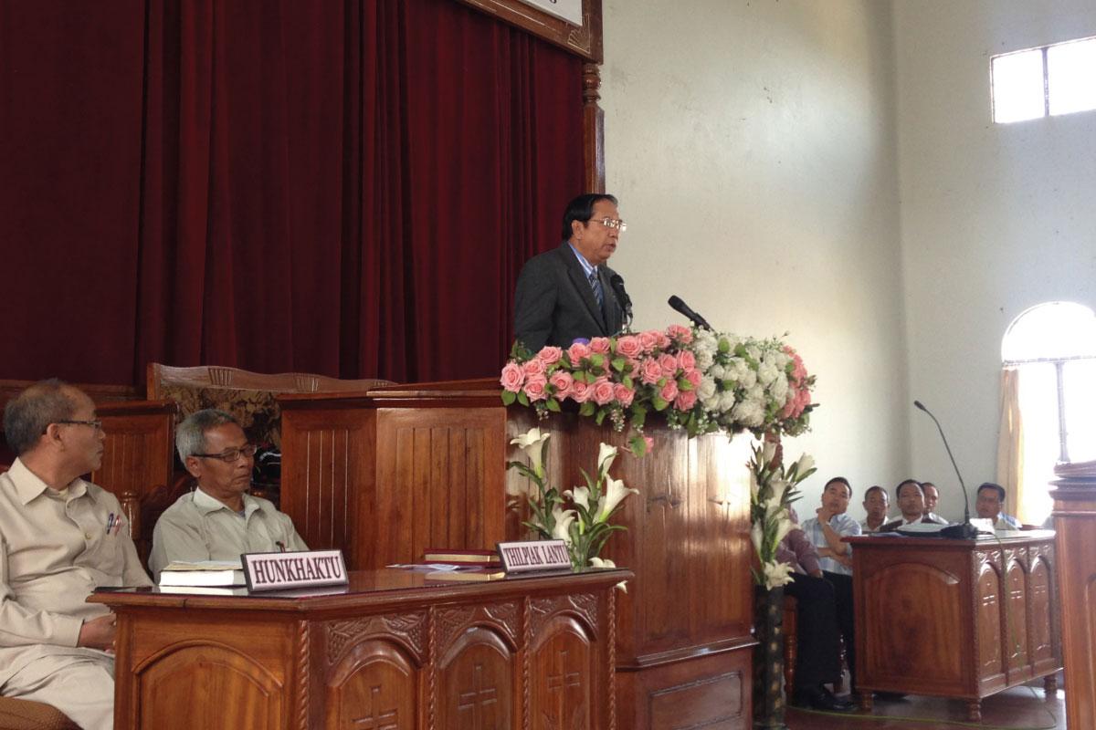 Dr. Mung at a gospel crusade (India)