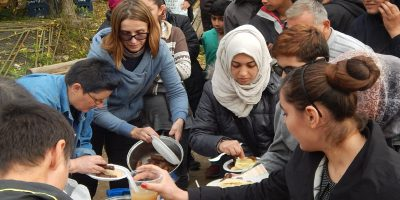 Making lunch for refugees